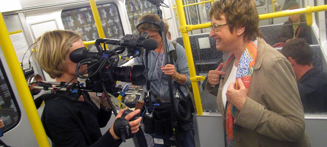 Brigitte Zypries in Berlin subway