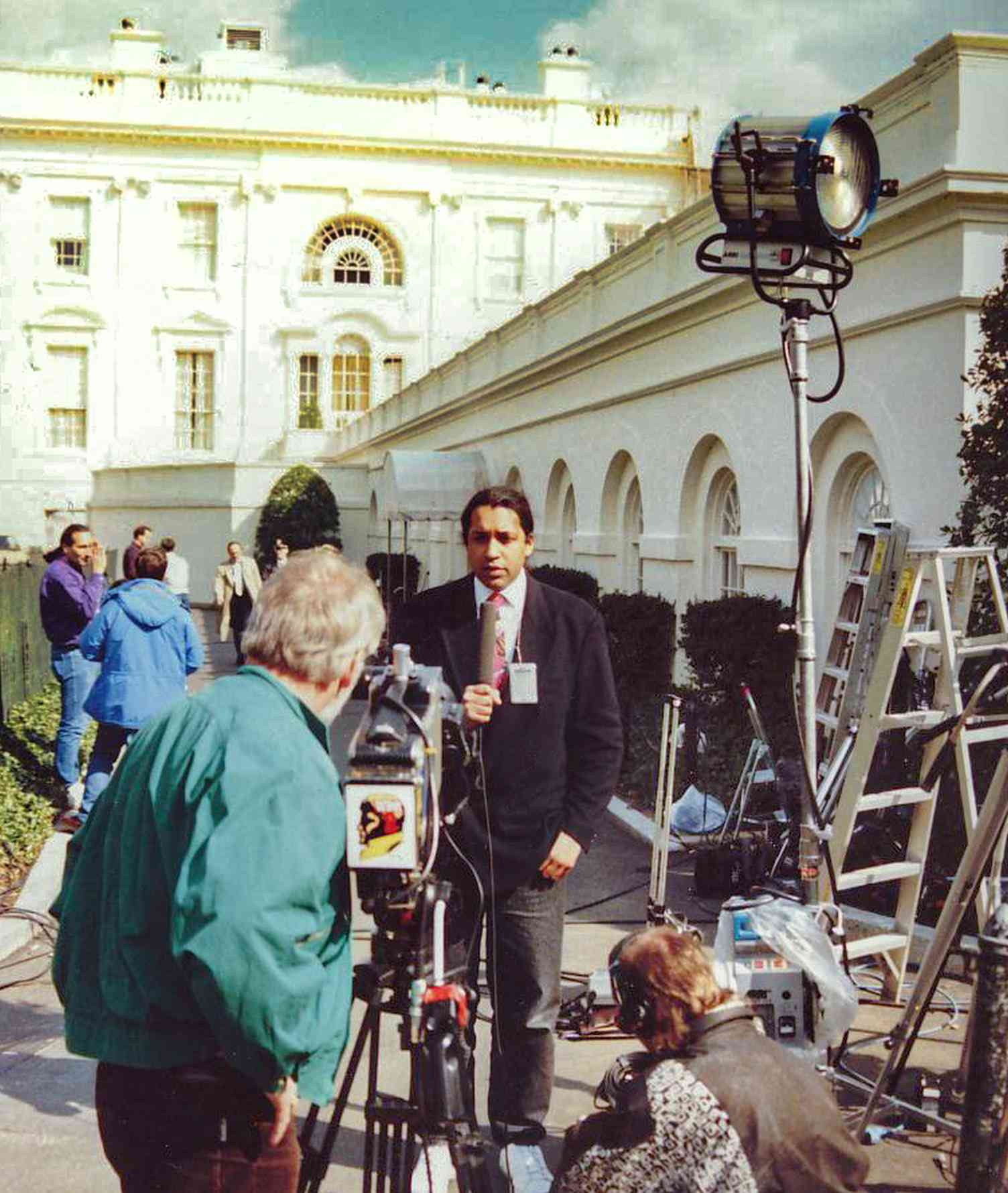 Cherno Jobatey is reporting in front of the West Wing of White House Washington DC