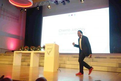 Cherno Jobatey screams on stage