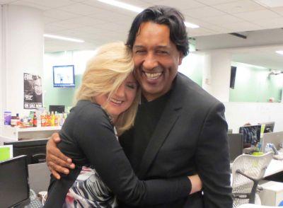 Arianna Huffington hugs Cherno Jobatey