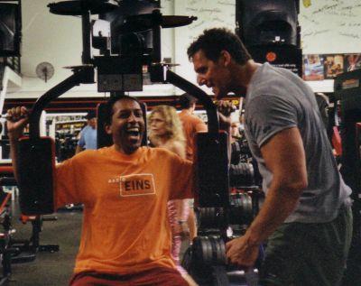 Ralf Moeller coaches Cherno Jobatey at Gold's Gym Venice CA