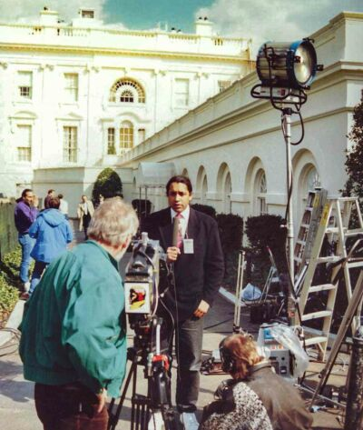 Cherno Jobatey is reporting in front of the West Wing White House Washington DC